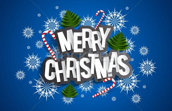 Joyeux Noël carte de vœux bonbons arbres étoiles Photo stock © nicousnake