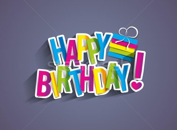 Joyeux anniversaire carte de vœux papier texture heureux enfants Photo stock © nicousnake