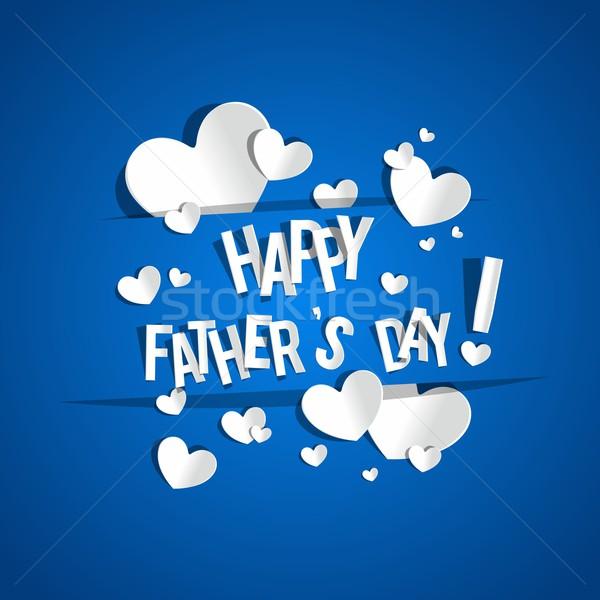 Jour de pères heureux carte de vœux coeurs bleu résumé coeur Photo stock © nicousnake