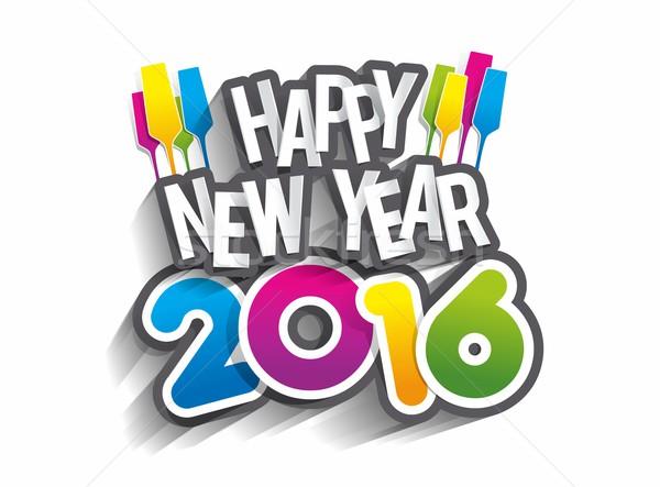 Happy new year 2016 célébration carte de vœux design papier Photo stock © nicousnake