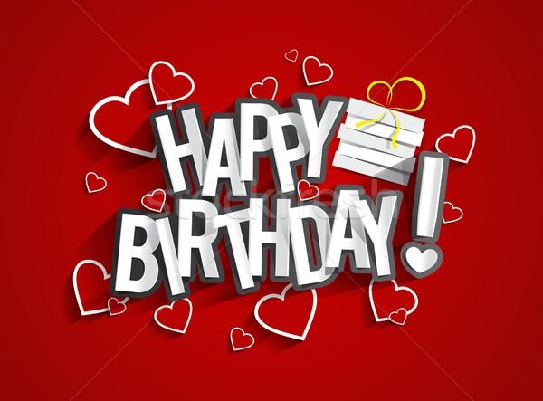 Photo stock: Joyeux · anniversaire · carte · de · vœux · papier · texture · heureux · enfants