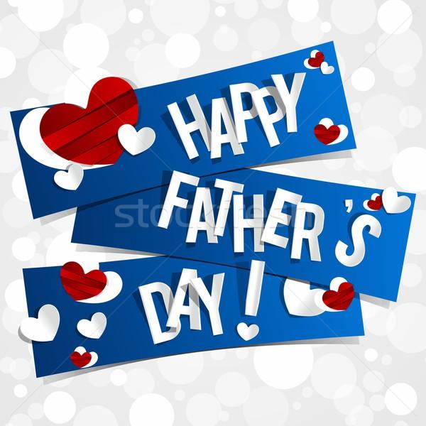 Photo stock: Jour · de · pères · heureux · carte · de · vœux · coeurs · bleu · résumé · coeur
