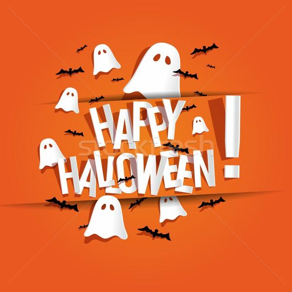 Mutlu halloween kart hayaletler turuncu afişler Stok fotoğraf © nicousnake