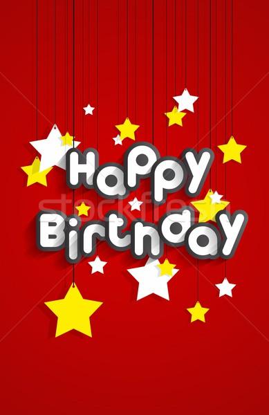 Photo stock: Joyeux · anniversaire · carte · de · vœux · étoiles · papier · texture · heureux