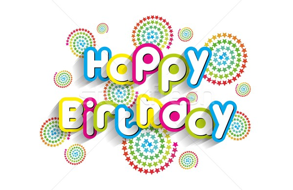 Joyeux anniversaire carte de vœux étoiles papier texture heureux Photo stock © nicousnake