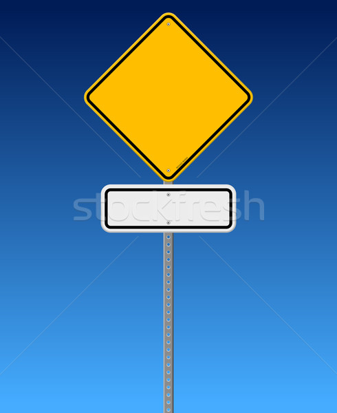 Placa sinalizadora blue sky diamante branco retângulo assinar Foto stock © nikdoorg