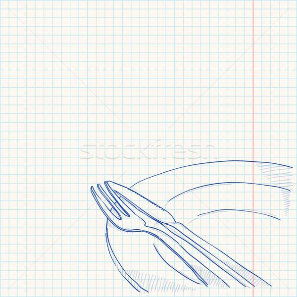 Talheres desenho prato azul esboço papel Foto stock © nikdoorg