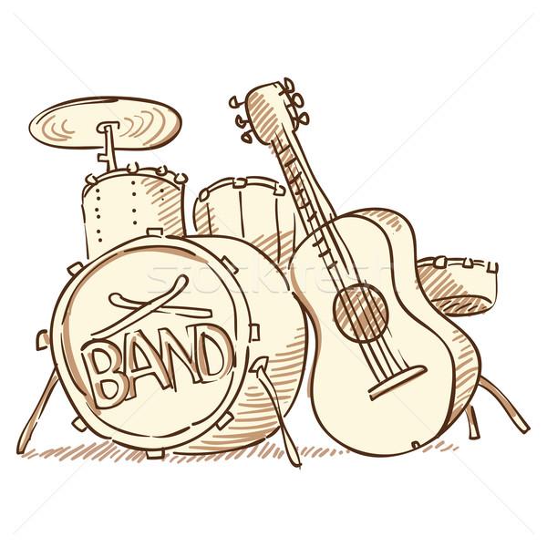 Bateria guitarra conjunto instrumentos musicais isolado branco Foto stock © nikdoorg