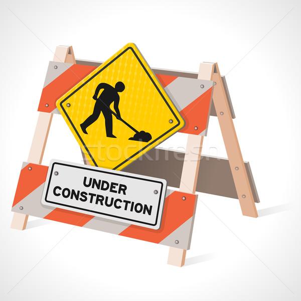 Construção placa sinalizadora estrada trabalhar à frente assinar Foto stock © nikdoorg