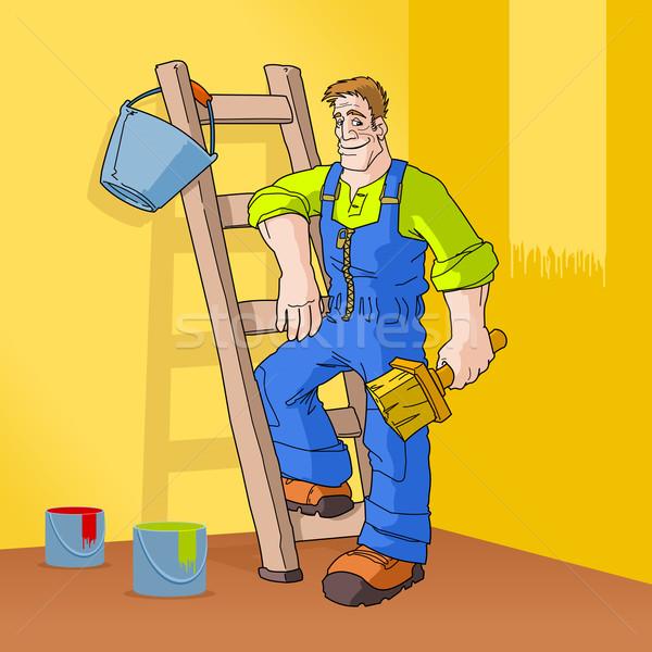 Peintre orange chambre équipement prêt heureux Photo stock © nikdoorg