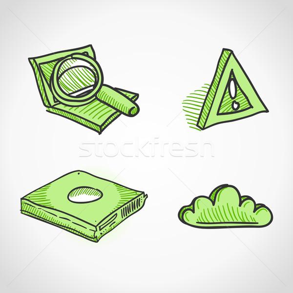 Technologie iconen handgemaakt ontwerp communie groene Stockfoto © nikdoorg