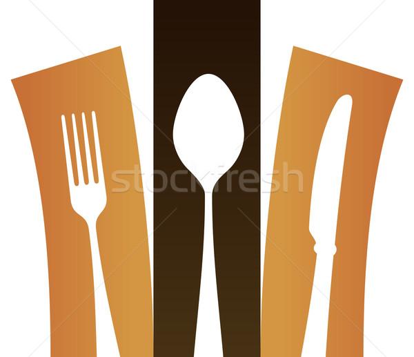 Modern çatal bıçak takımı simge çatal kaşık bıçak Stok fotoğraf © nikdoorg