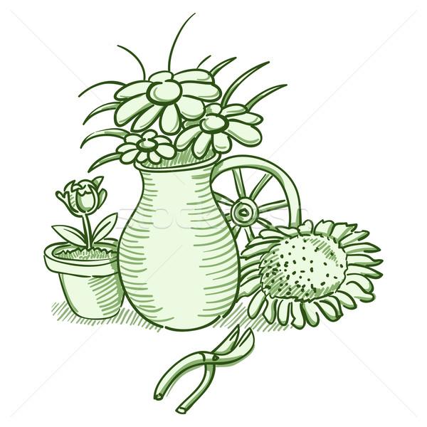 Flor ilustración verde flores jarrón Foto stock © nikdoorg