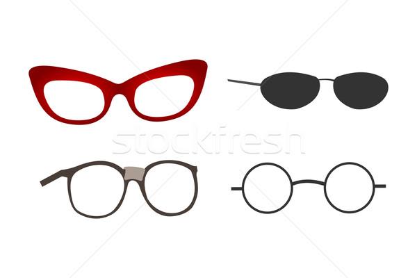 Gözlük toplama ayarlamak moda gözlük kareler Stok fotoğraf © nikdoorg