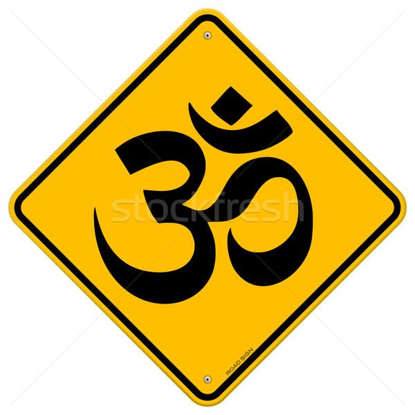 Amarelo assinar clássico placa sinalizadora hinduismo símbolo Foto stock © nikdoorg