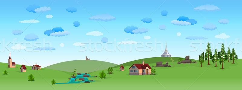 Nature paysage ciel bleu panorama collines champs Photo stock © nikdoorg