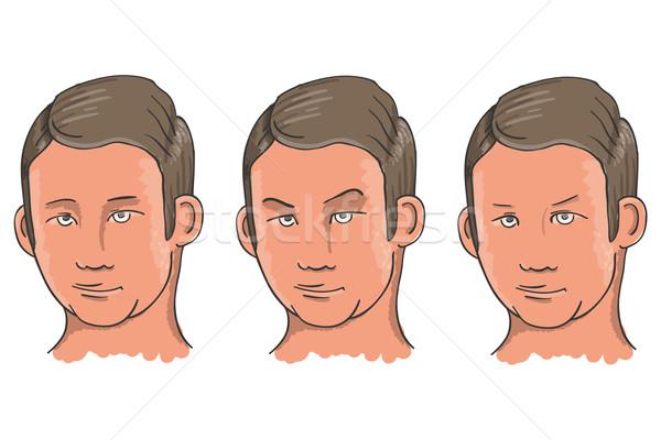 Trois expressions faciales illustration homme visage Photo stock © nikdoorg