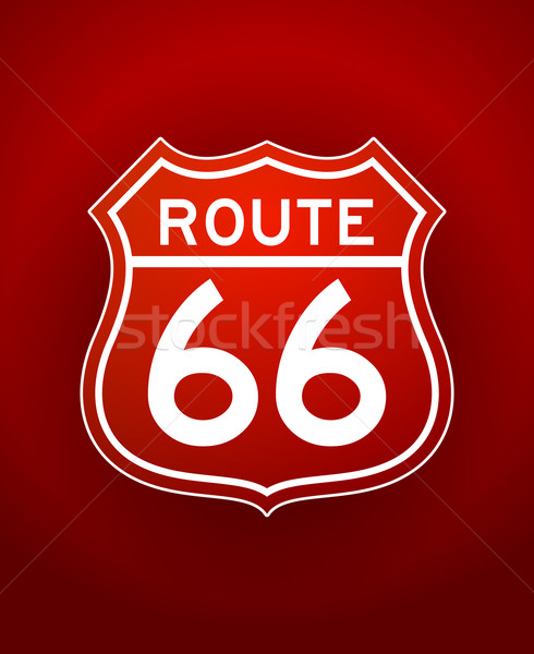 Rouge route 66 silhouette blanche illustration signe Photo stock © nikdoorg