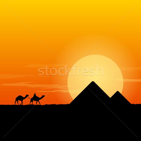 Camelo caravana pirâmide deserto cenário pirâmides Foto stock © nikdoorg