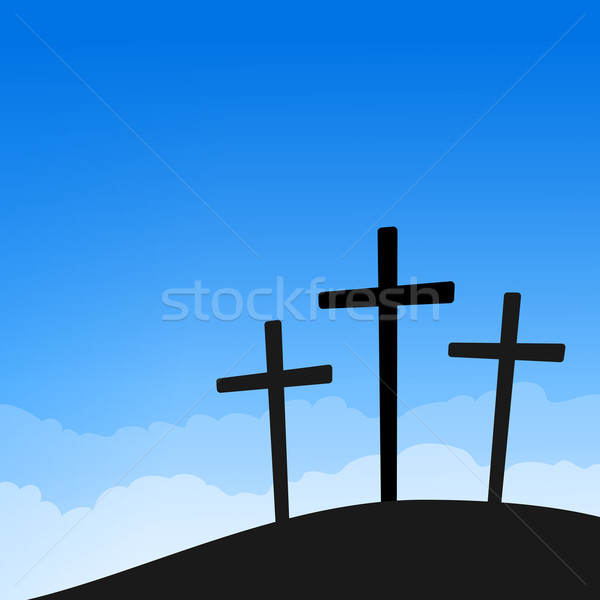 Three Crosses on Blue Sky Stock photo © nikdoorg