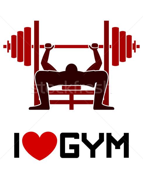 Amour gymnase symbole illustration sport équipement Photo stock © nikdoorg
