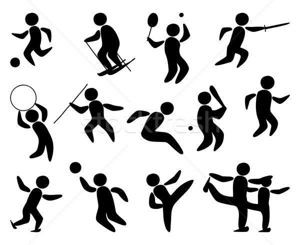 Foto stock: Esportes · pessoas · isolado · preto · ilustrações · humanismo