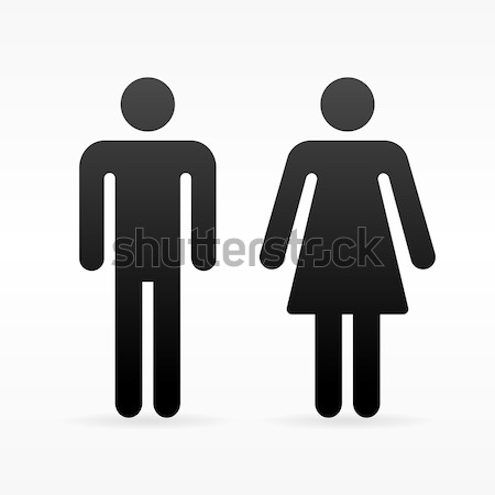 Foto stock: Feminino · masculino · símbolo · preto · ícone · homem