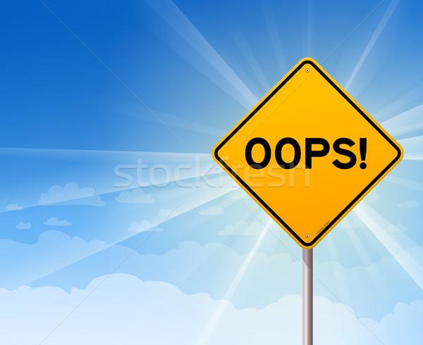 Oops jaune signe ciel bleu erreur erreur Photo stock © nikdoorg