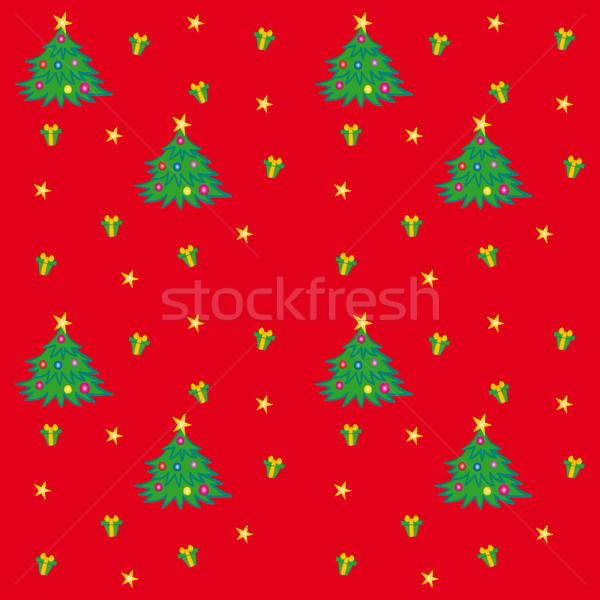 Foto stock: árvore · de · natal · textura · árvore · dom · vermelho