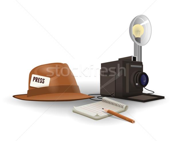 Geïsoleerd paparazzi uitrusting vintage hoed camera Stockfoto © nikdoorg