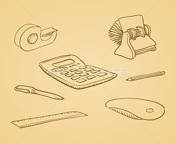 Illustré bureau outils beige brun matériel de bureau Photo stock © nikdoorg