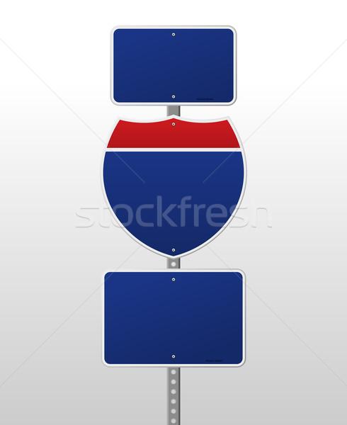 Interestadual assinar vermelho azul placa sinalizadora prata Foto stock © nikdoorg