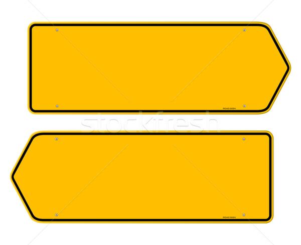 Itinéraire jaune signe vide panneaux de signalisation routière pointant Photo stock © nikdoorg