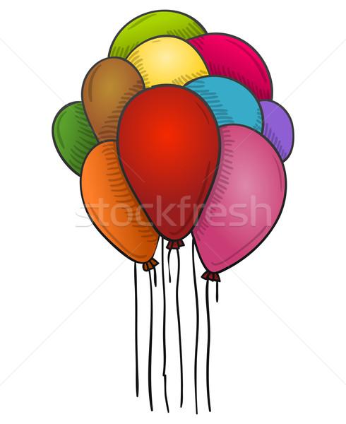 Lebeg léggömbök színes magas levegő buli Stock fotó © nikdoorg