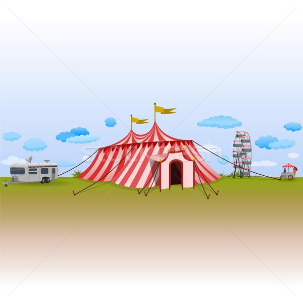 Parco di divertimenti circo erba verde cielo blu fumetto illustrazione Foto d'archivio © nikdoorg