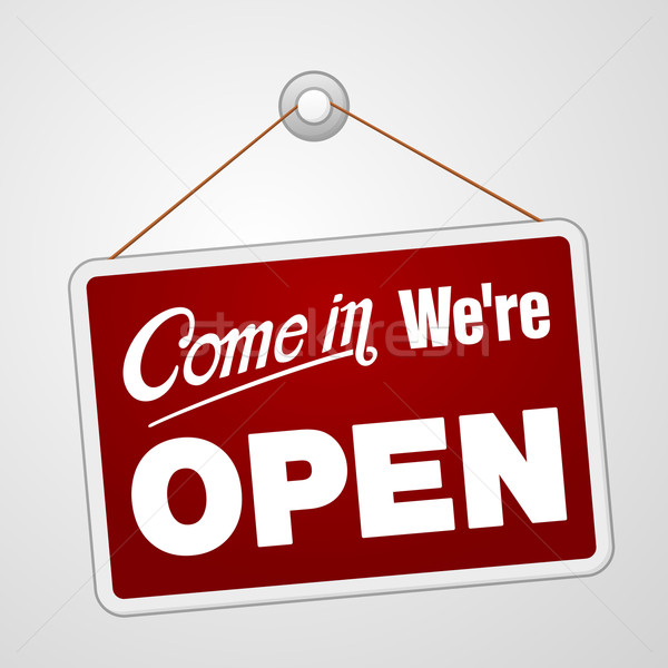 Stock photo: We are Open Sign