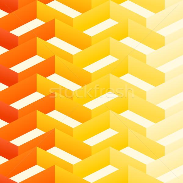 Retro zygzak wzór pomarańczowy żółty złudzenie optyczne Zdjęcia stock © nikdoorg