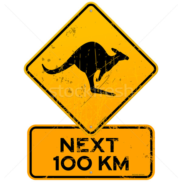 Roadsign Kangaroos Next 100 km Stock photo © nikdoorg