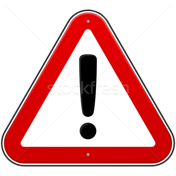Photo stock: Rouge · signe · danger · triangle · panneau · routier · isolé