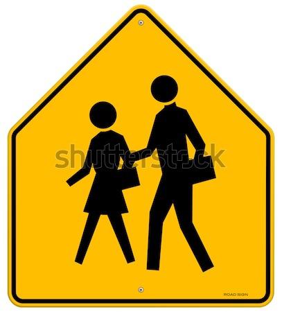 Escolas amarelo placa sinalizadora preto silhuetas Foto stock © nikdoorg