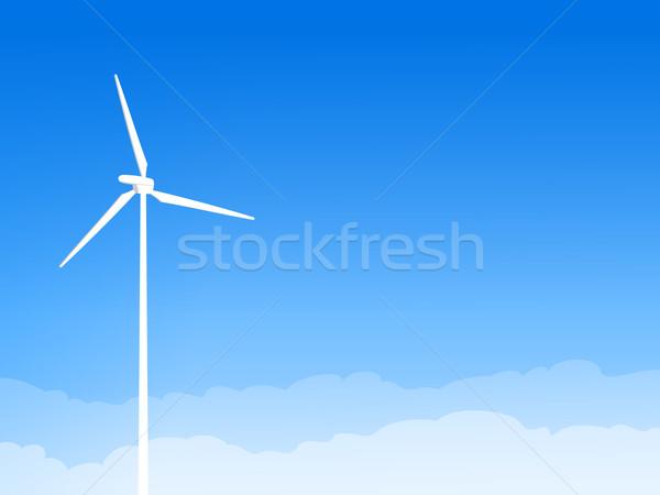 Eco éolienne ciel bleu illustration énergies renouvelables turbine Photo stock © nikdoorg
