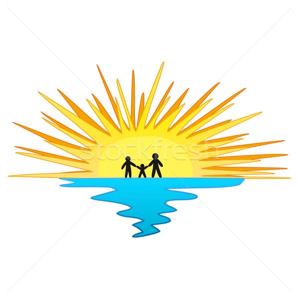 ストックフォト: 日没 · 家族 · シンボル · 夏 · ビーチ · 幸せ