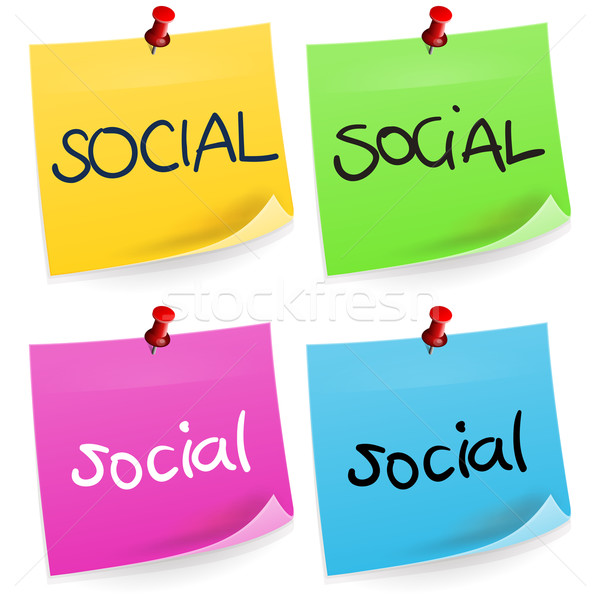 Social nota pegajosa palavra escrito quatro colorido Foto stock © nikdoorg
