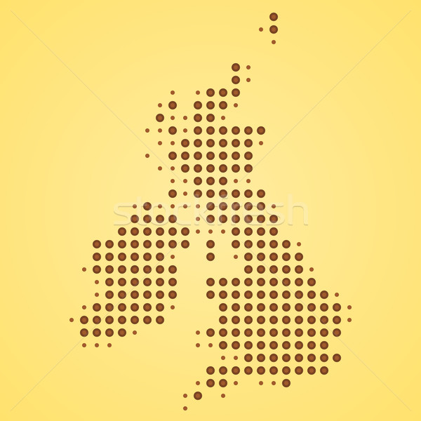 Grande-bretagne carte illustration pointillé Angleterre silhouette Photo stock © nikdoorg