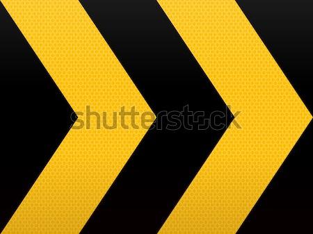 Foto stock: Sem · costura · amarelo · preto · seta · grande · estrada