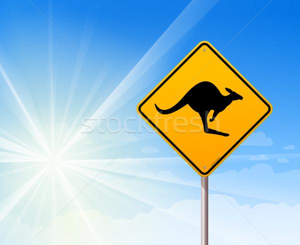 Kanguru imzalamak mavi gökyüzü ikonik siyah Stok fotoğraf © nikdoorg