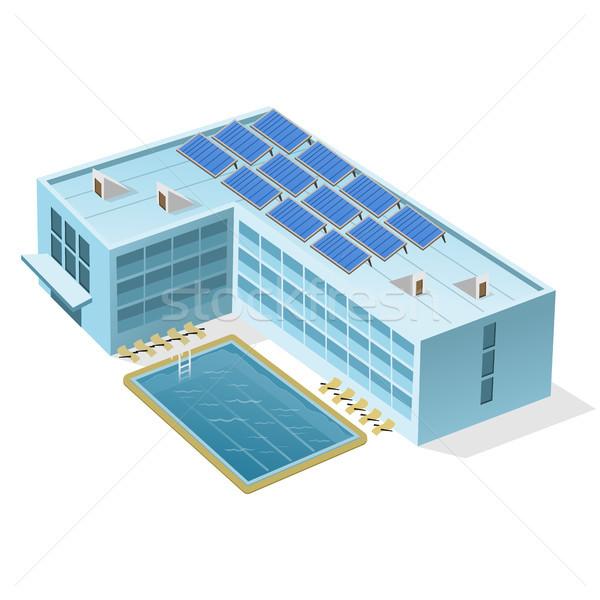 Hotel piscina ilustração edifício completo azul Foto stock © nikdoorg