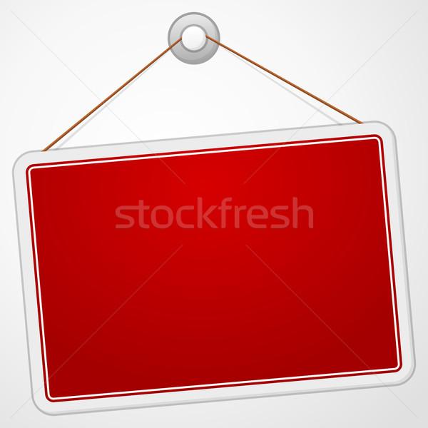 Kırmızı imzalamak tahta asılı yalıtılmış beyaz Stok fotoğraf © nikdoorg
