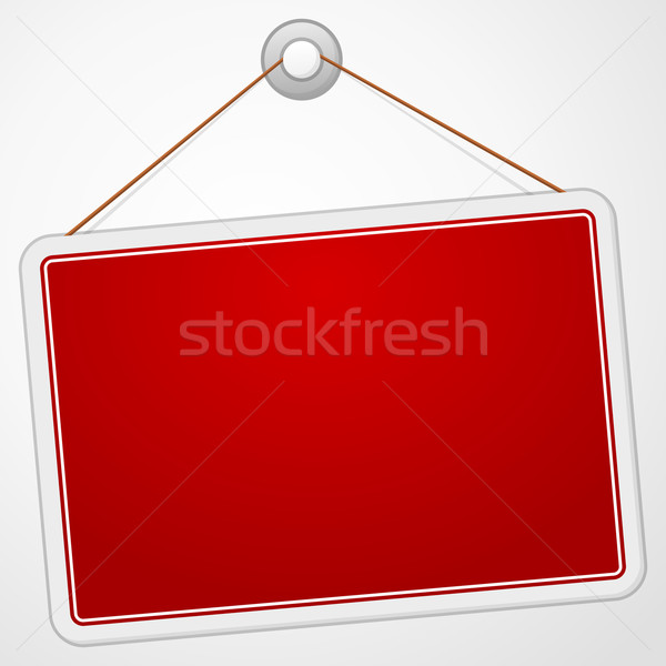Vermelho assinar conselho enforcamento isolado branco Foto stock © nikdoorg