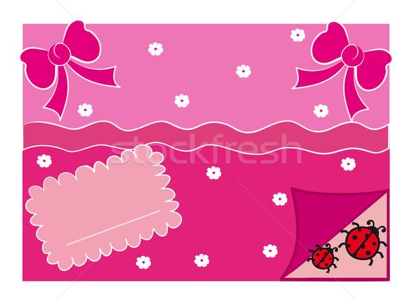 Photo stock: Carte · de · vœux · illustration · rose · rétro · coccinelles